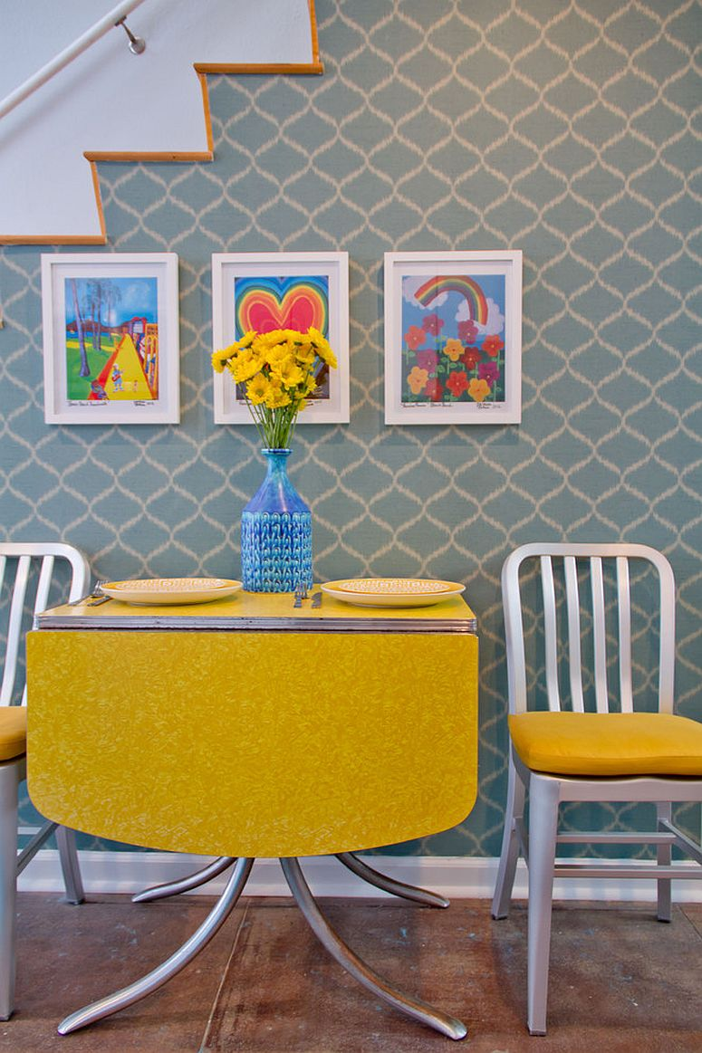 Modern retro dining space full of pattern and bold color [FRom: Charmean Neithart Interiors / Erika Bierman Photography]