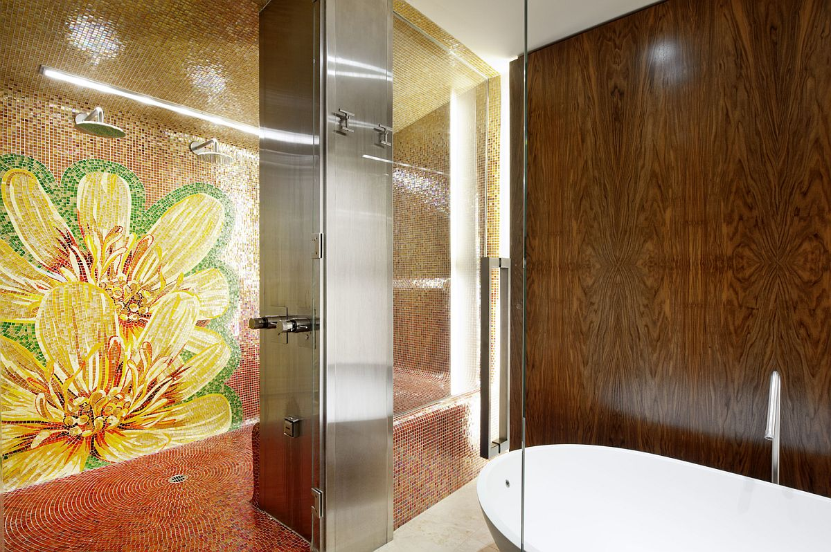 Mosaic installation on the shower wall makes a big visual statement