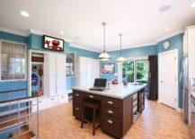 Multipurpose room with mudroom, laundry and home office rolled into one