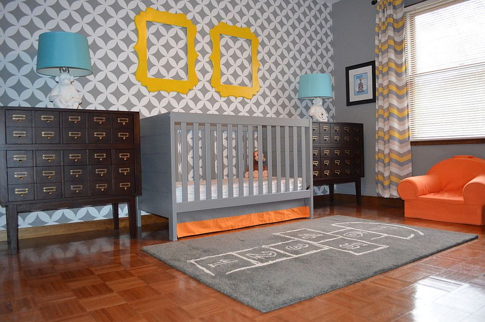 Nagoya Allover Stencil fashions the striking backdrop in this nursery [Design: Janna Makaeva/Cutting Edge Stencils]