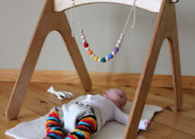 Natural wood baby gym from Etsy shop HighlandWood