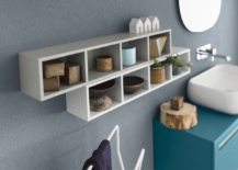 Open shelves for the bathroom also acts as decorative feature