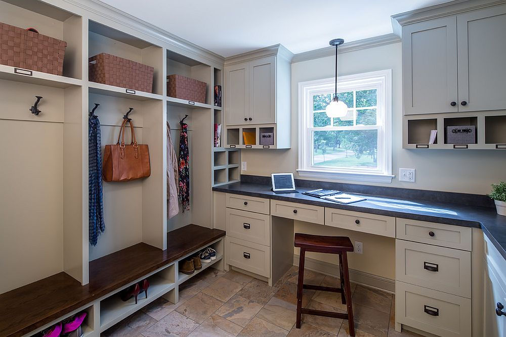... Open Shelving In The Mudroom Gives It A More Spacious Look [Design:  Sicora Design