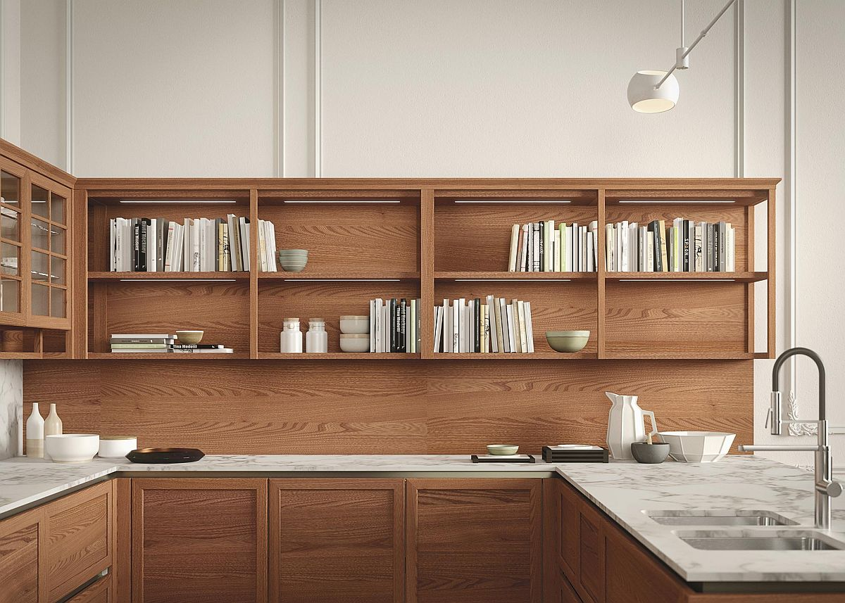 Open top shelves can be used to stack your cook books