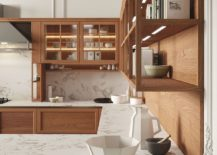 Open top units of the kitchen in wood along with marble countertops