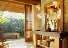 Open vanity idea for the breezy tropical bathroom