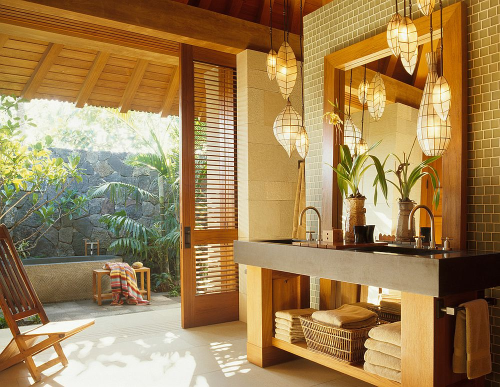 ... Open vanity idea for the breezy tropical bathroom [Design: ZAK Architecture]
