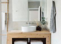 Open wooden bathroom vanity design