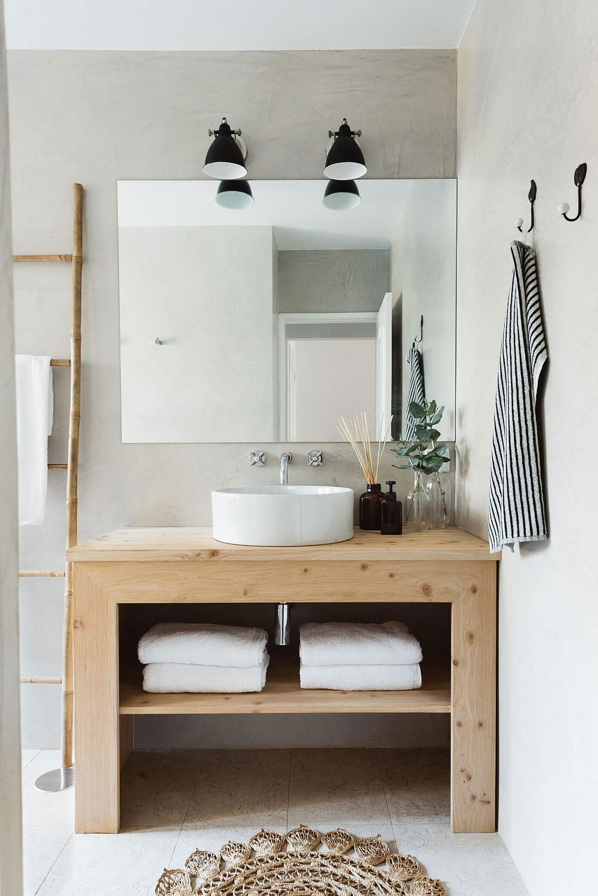 Open wooden bathroom vanity design