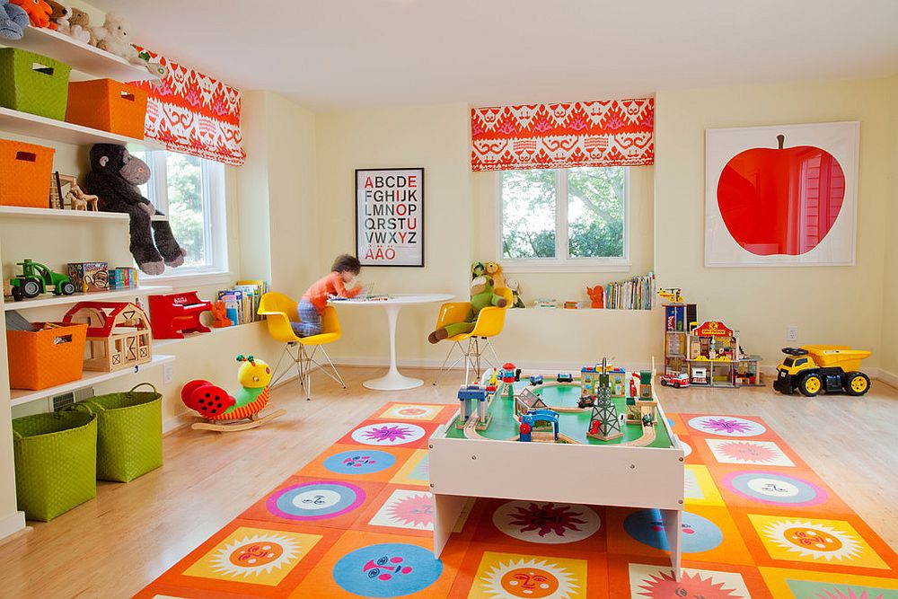 Orange rug brings cheerfulness and spunk to the playroom