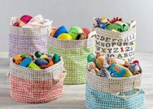 Organic toy bins from The Land of Nod 217x155 Eco Friendly Nursery Essentials