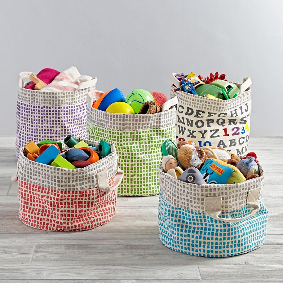Organic toy bins from The Land of Nod