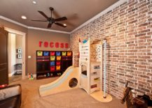 Organized playroom with brick wall and slide