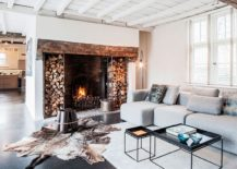 Original fireplace of the house was retained and enhanced to fit within the more modern setting 217x155 Synergy of Contrasting Styles: Farmhouse Renovation in Belgium