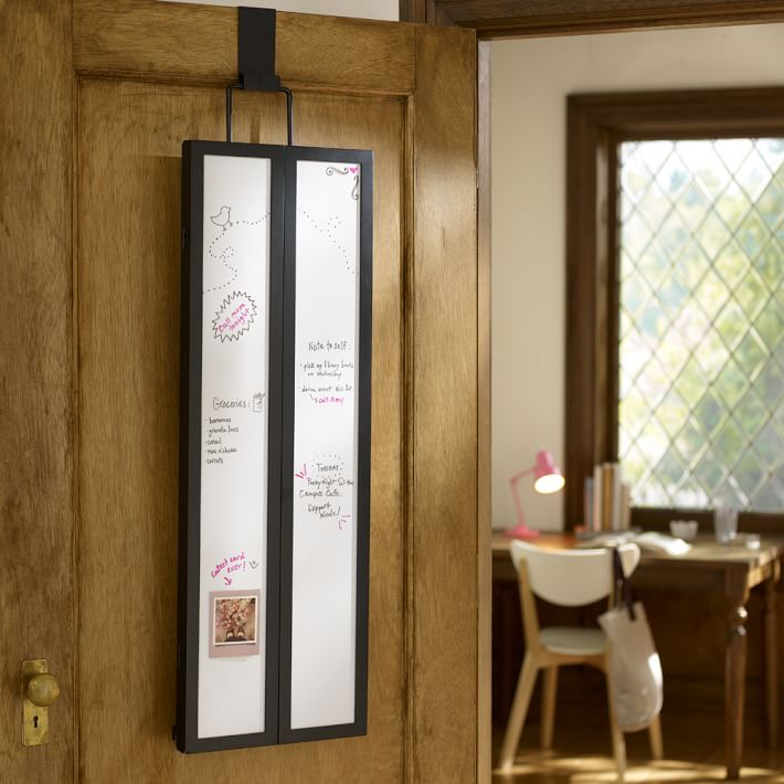 Over-the-door mirror and dry erase board