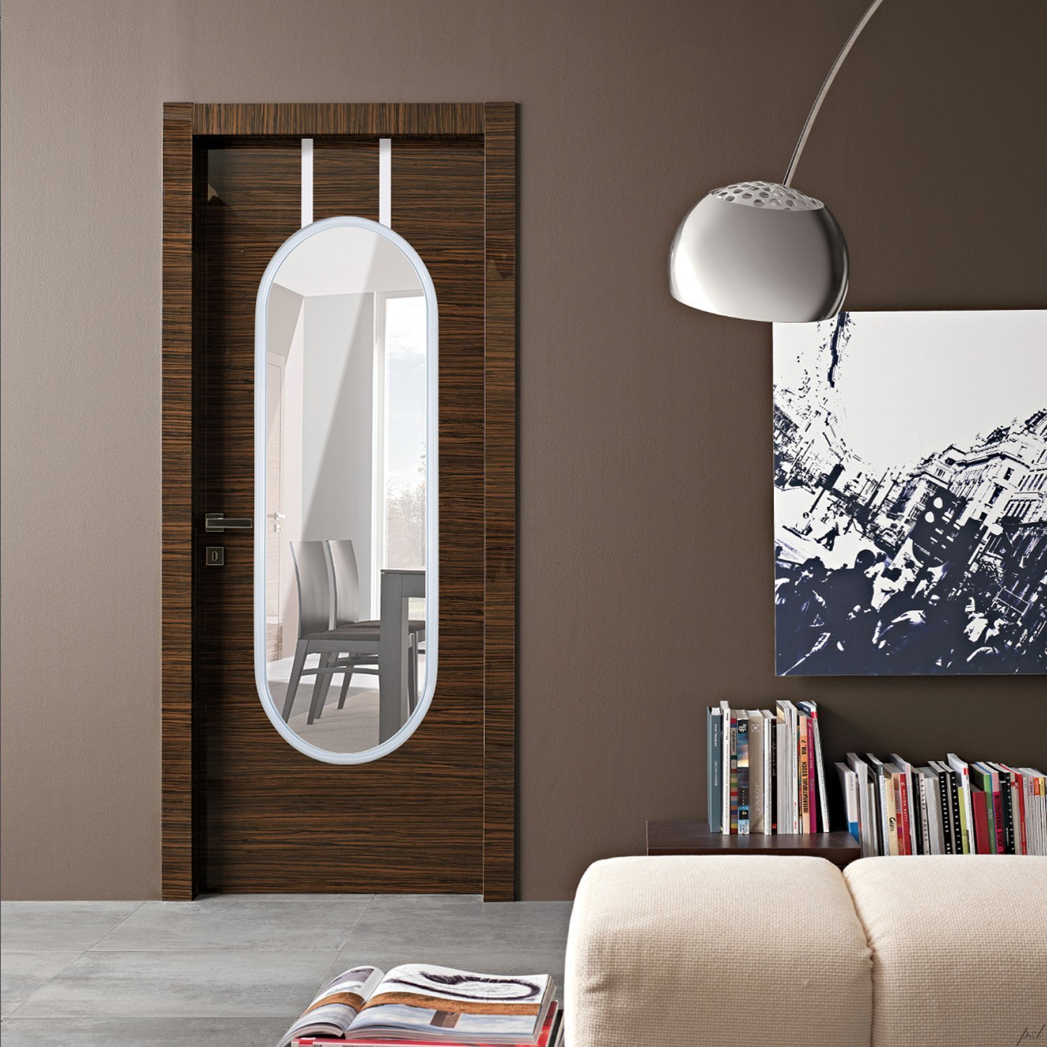 Over-the-door mirror with rounded edges