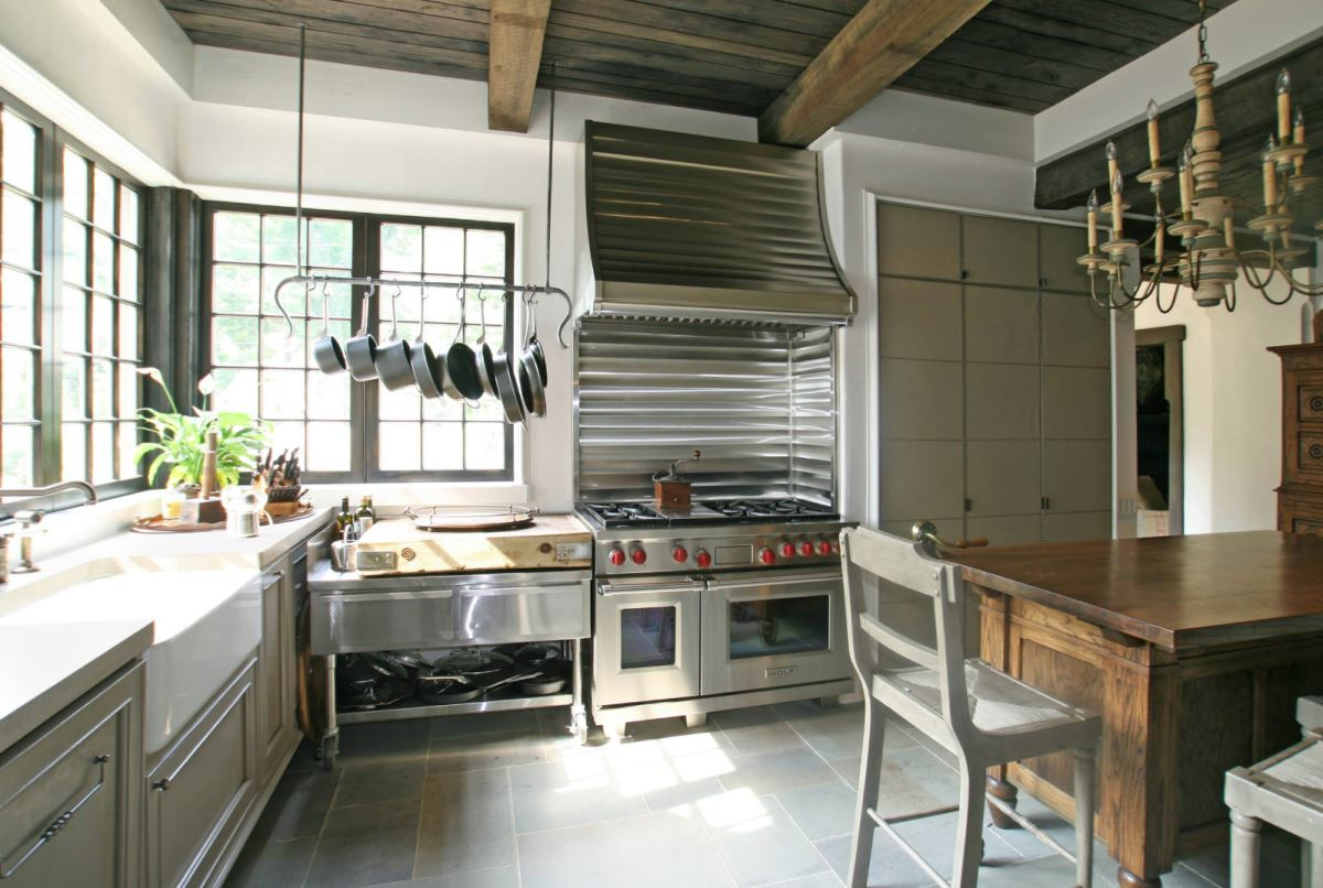 View In Gallery Overhead Pot Rack For A Kitchen Workspace