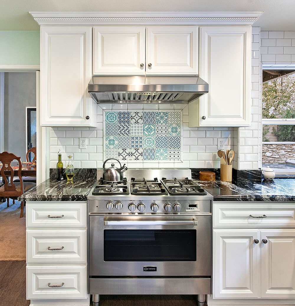 ... Patchwork Of Tiles For The Creative Kitchen Backsplash [From: Micah  Dimitriadis Photography]