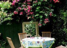 Patterned-round-tablecloth-in-a-garden-dining-area-217x155