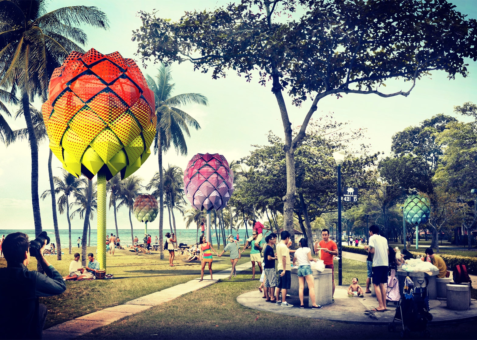How the beach huts designed by Spark will look.