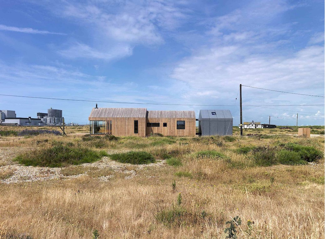 Pobble house by British architect Guy Hollaway on Dungeness beach.