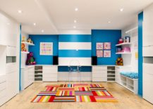 Posh contemporary kids' room does not shun away from bright blocks of color