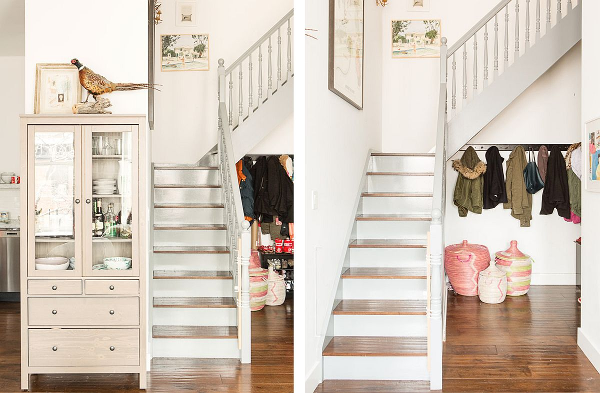 Re-dressed staircase of the loft has a chic sculptural appeal