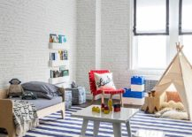Refined contemporary kids' room in blue and white