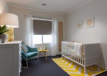 Repeating the accent color in the nursery to give it a curated appeal