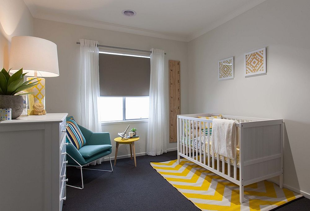 Repeating the accent color in the nursery to give it a curated appeal [Design: Orbit Homes]