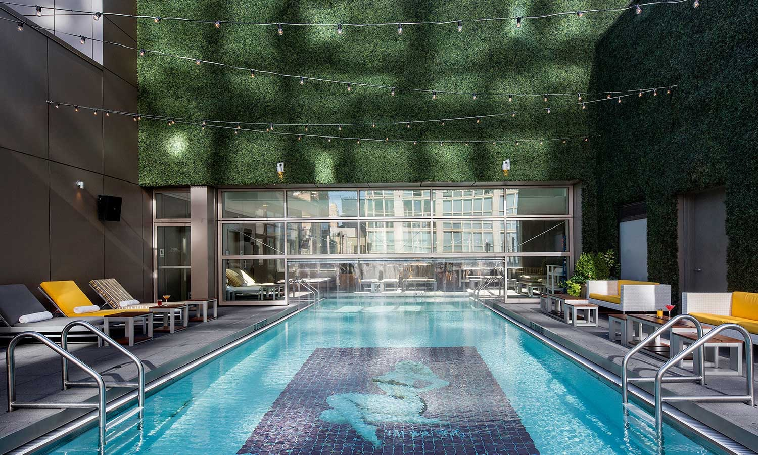 The Gansevoort Park Avenue rooftop bar pool.