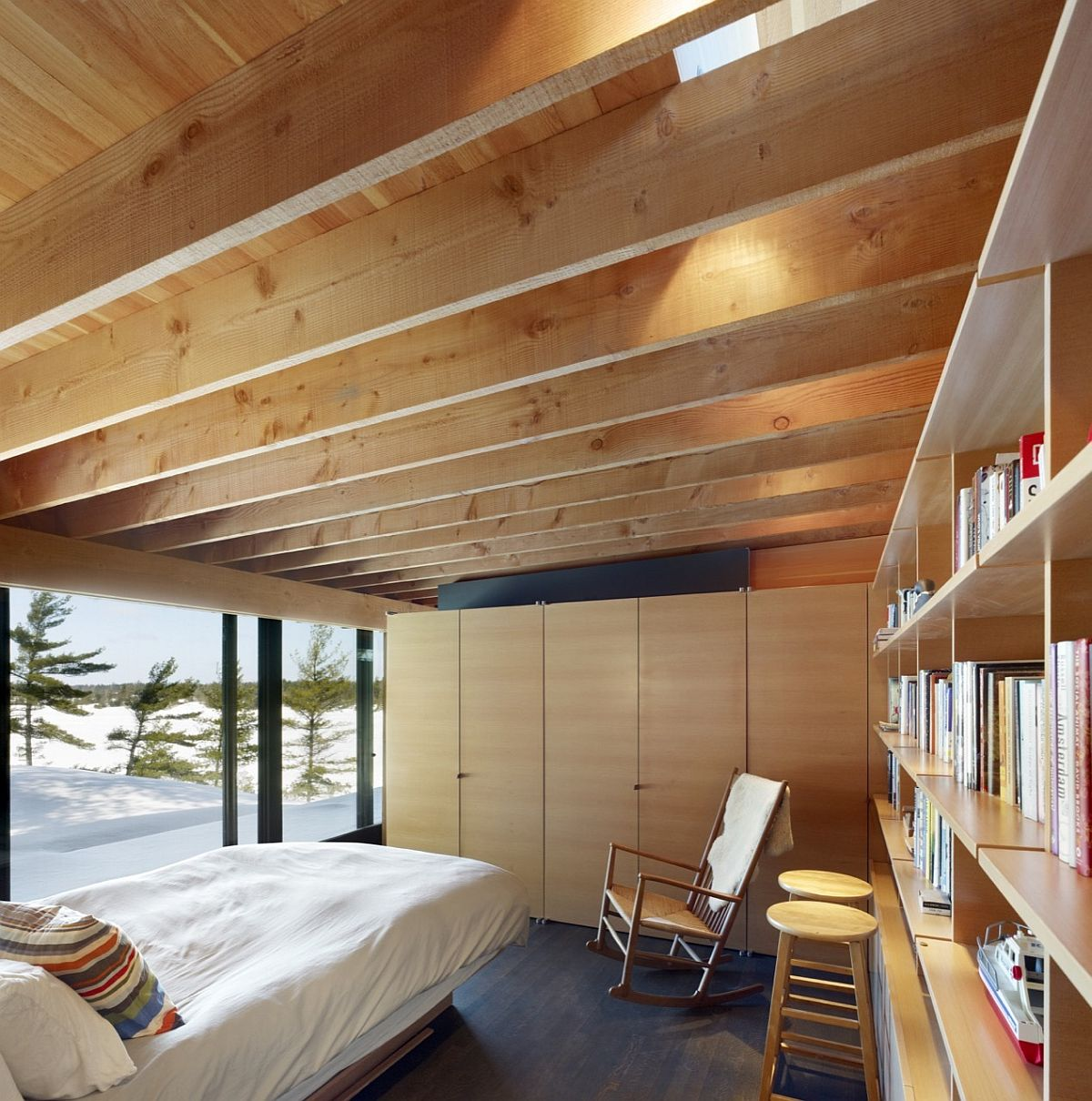 Rough-sawn fir gives the bedrooms a warm, cozy ambiance