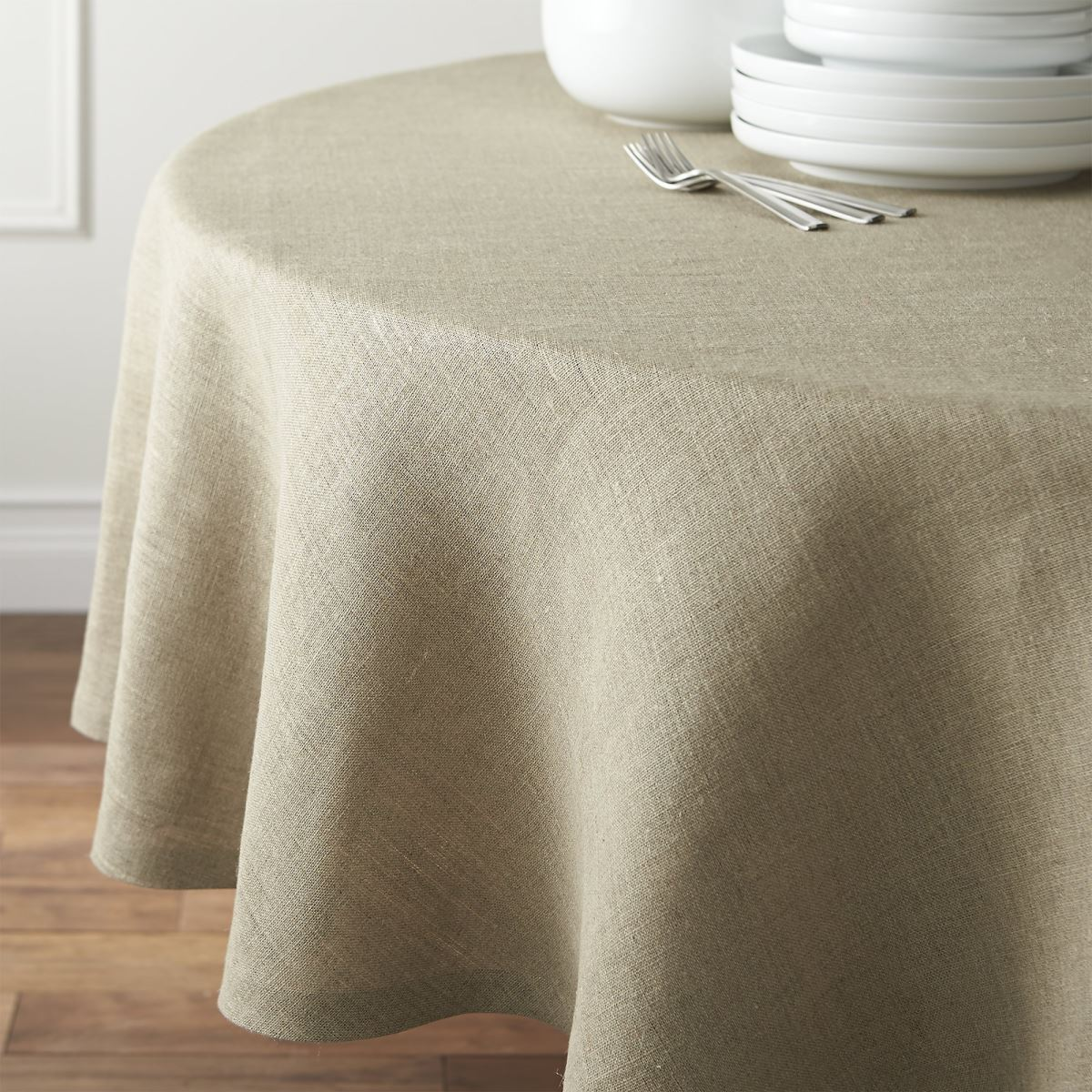 Round linen tablecloth from Crate & Barrel