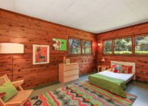 Rugs with traditional motifs and patterns are perfect for cabin-styled farmhouse kids' rooms