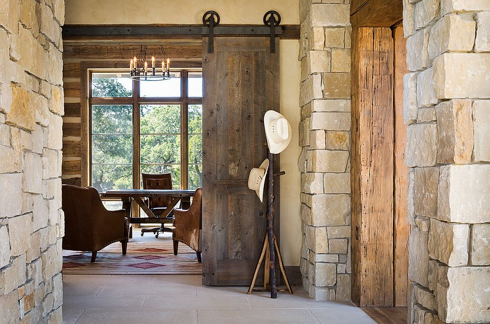 Rustic home office is a great place to try out the classic barn door [From: Cornerstone Architects / Andrew Pogue Photography]