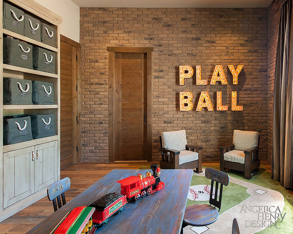 Rustic kids' playroom with bold design and brick wall [From: Angelica Henry Design]