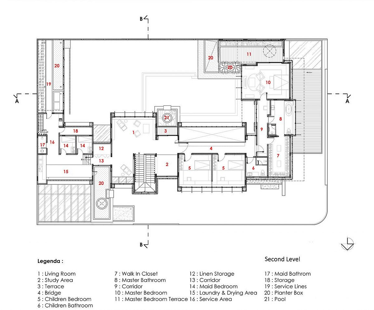 Second level floor plan of the modern Javanese home