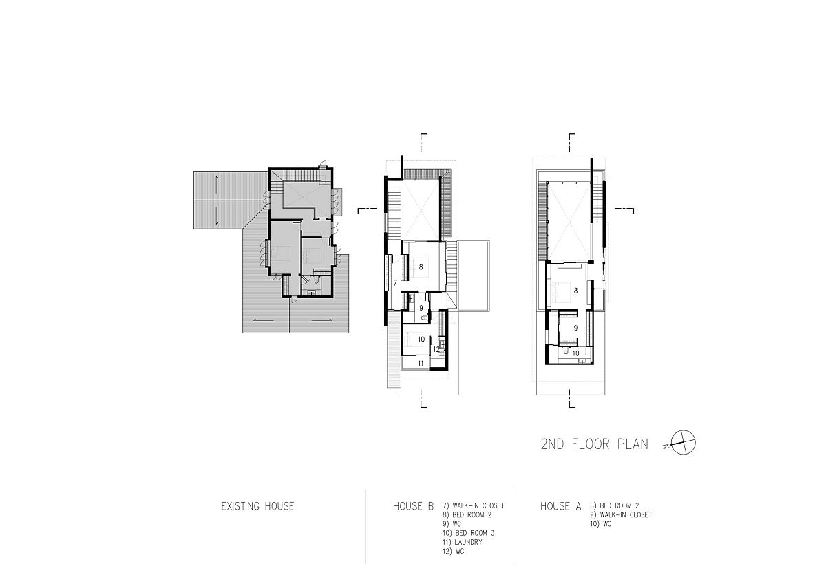 Second level floor plan of two houses next to one another in Bangkok, Thailand