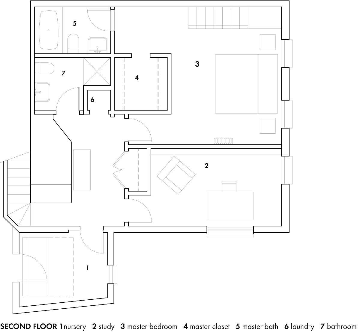 Second level floor plan with nursery and master bedroom