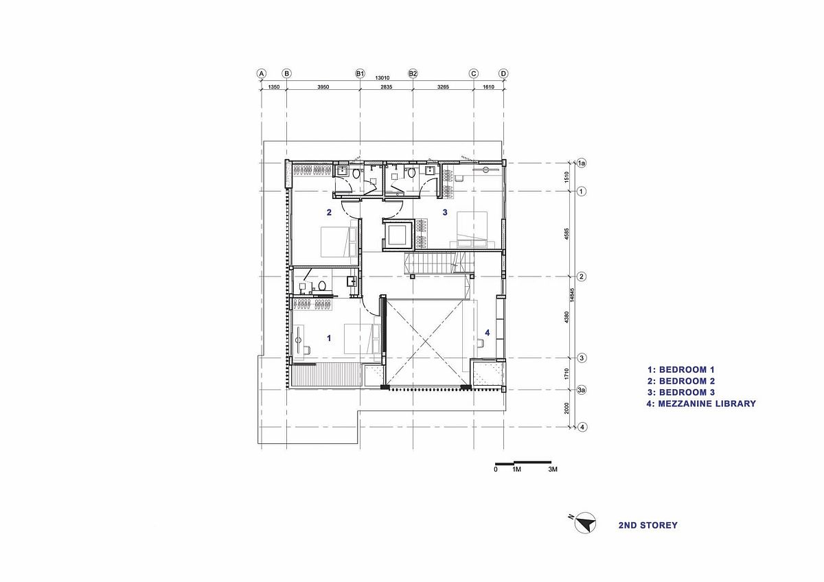 Second level floor plan with three bedrooms and bathroom