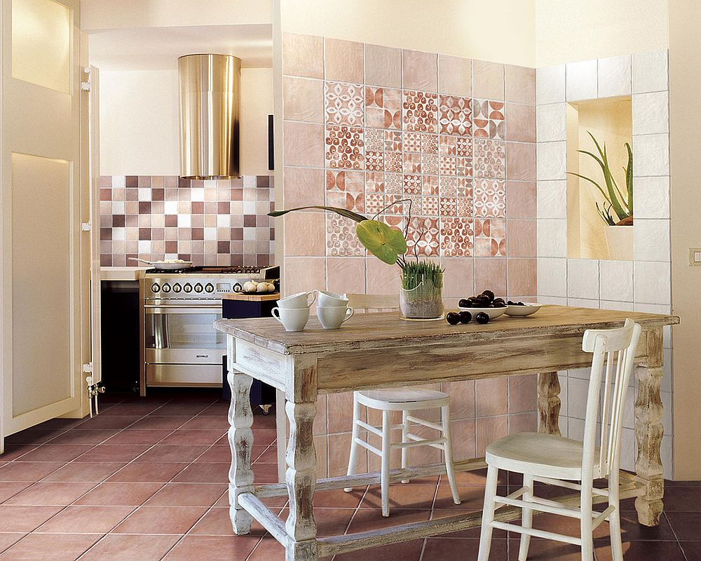 section of patchwork tiles in the kitchen seems far less intimidating visually from cir