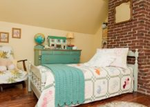 Shabby chic style kids' bedroom with brick wall feature