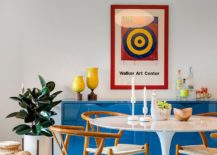 Sideboard in blue and Tulip table add a pinch of retro beauty to the dining room