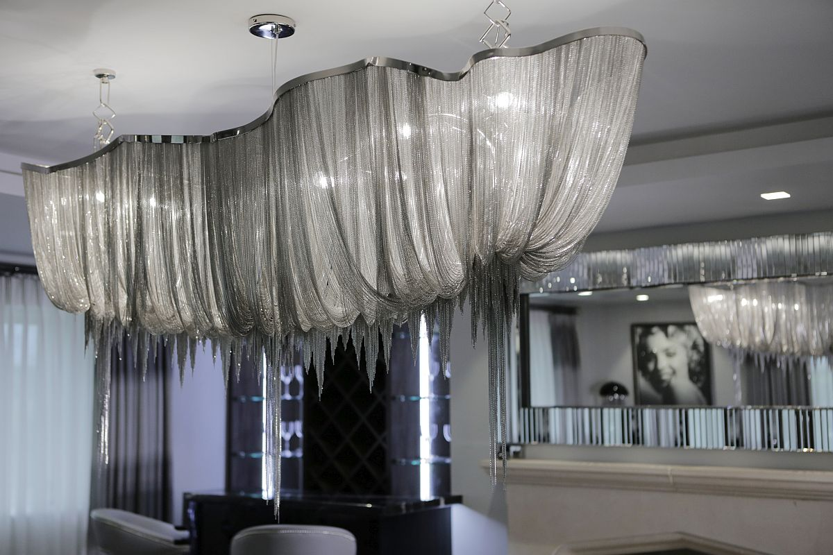 Silken and striking chandelier for the glamarous dining room