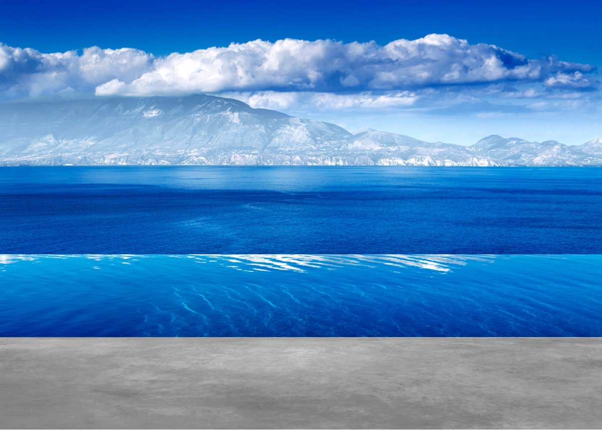 Silver infinity pool overlooking the Ionian Sea.