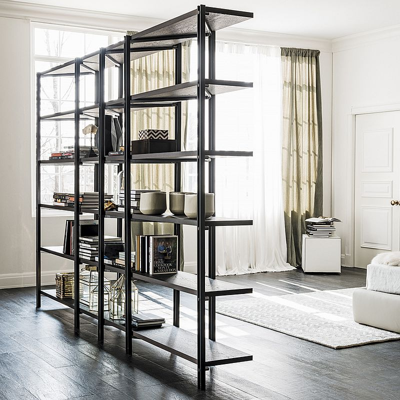 Sleek bookshelf from Cattelan Italia takes up very little square footage