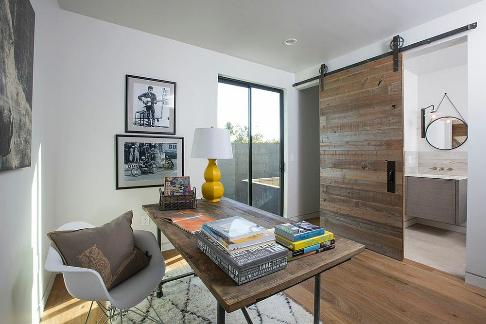 Sliding barn door separates the home office from the small bathroom Space Savers at Work: 20 Home Offices with Sliding Barn Doors