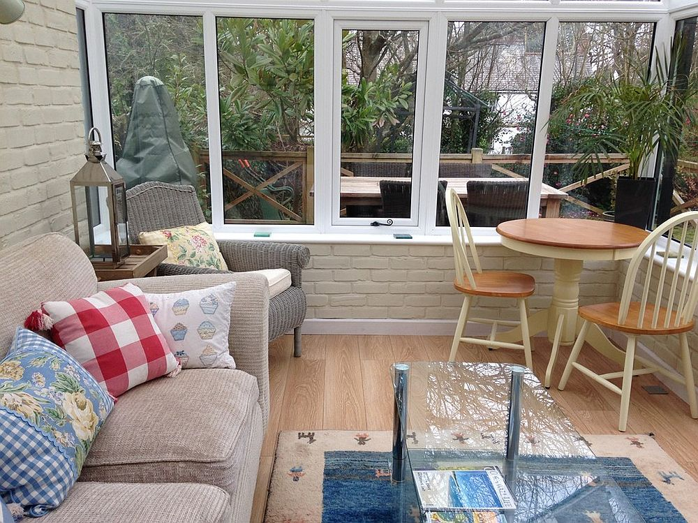 Small and beautiful sunroom with lovely view of the outdoors [Design: Tracey Mannell Interiors]