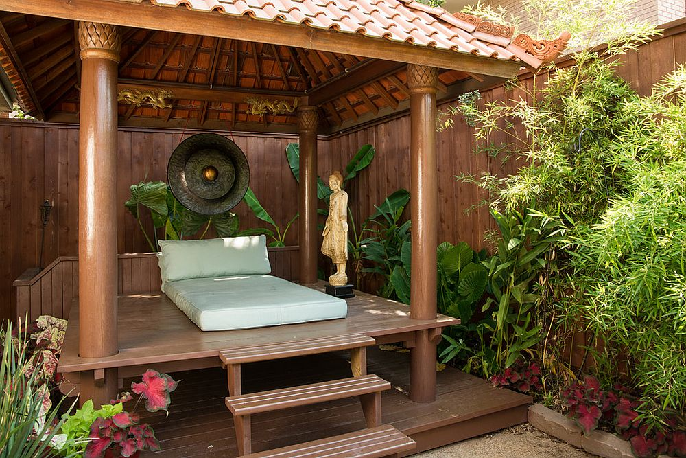 Small deck in the secluded garden takes your meditation practice outdoors! [Design: Jason Jones Photography]