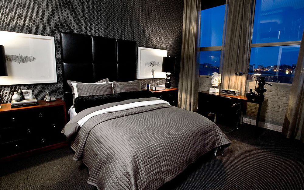 Small geometric pattern in black adds to the masculinity of the bedroom [Design: Atmosphere Interior Design]